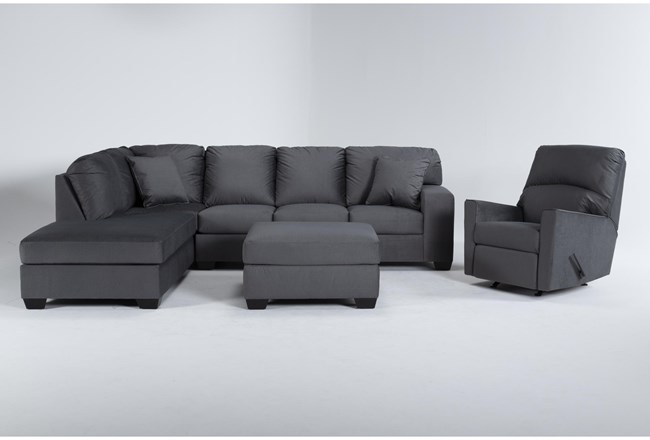 Romy Graphite 2 Piece Sectional With Left Arm Facing Chaise, Ottoman & Rocker Recliner - 360