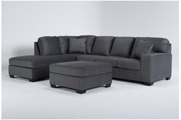 Romy Graphite 2 Piece Sectional With Left Arm Facing Chaise & Ottoman