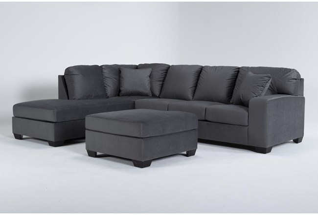 Romy Graphite 2 Piece Sectional With Left Arm Facing Chaise & Ottoman - 360