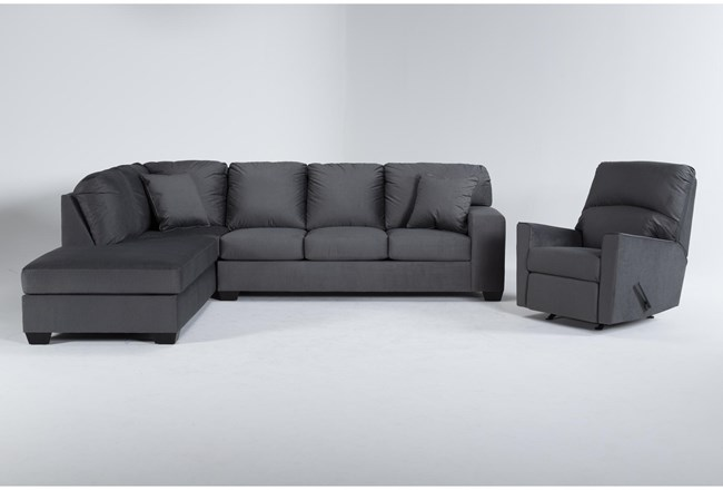 Romy Graphite 2 Piece Sectional With Left Arm Facing Chaise & Rocker Recliner - 360