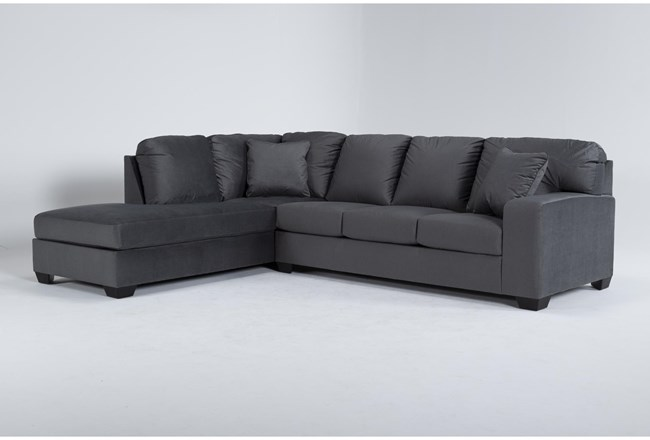 """Romy Graphite 2 Piece 119"""" Sectional With Left Arm Facing Chaise - 360"""