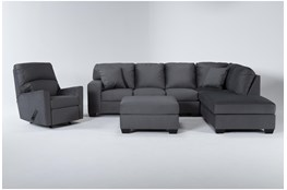 Romy Graphite 2 Piece Sectional With Right Arm Facing Chaise, Ottoman & Rocker Recliner