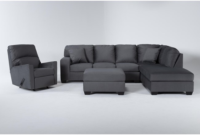 Romy Graphite 2 Piece Sectional With Right Arm Facing Chaise, Ottoman & Rocker Recliner - 360