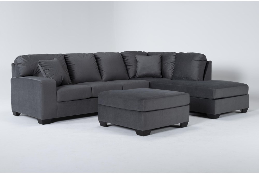 Romy Graphite 2 Piece Sectional With Right Arm Facing Chaise & Ottoman