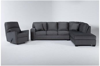 Romy Graphite 2 Piece Sectional With Right Arm Facing Chaise & Rocker Recliner
