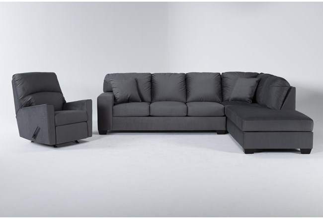 Romy Graphite 2 Piece Sectional With Right Arm Facing Chaise & Rocker Recliner - 360