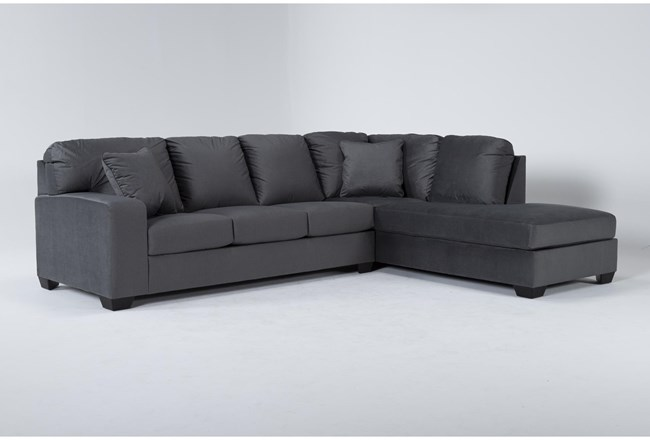 "Romy Graphite 2 Piece 119"" Sectional With Right Arm Facing Chaise - 360"