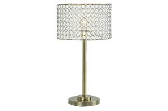 Table Lamp-Antique Brass With Crystal Shade