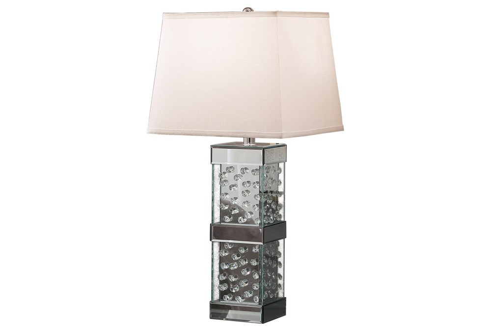 Table Lamp-Mirrored Nickel And Crystal