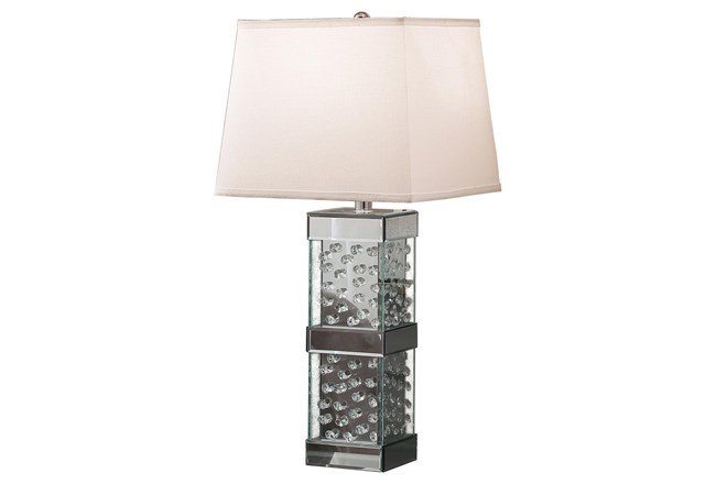 Table Lamp-Mirrored Nickel And Crystal - 360