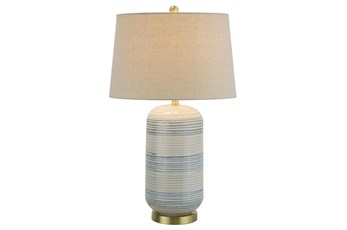 Table Lamp-Blue And Beige Ceramic