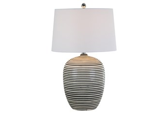 Table Lamp-Beige And Taupe Ceramic