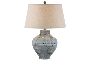 26 Inch Aged Grey Hydrocal Table Lamp