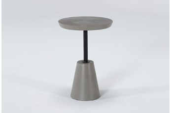 Concrete Round Etched Top Outdoor Accent Table