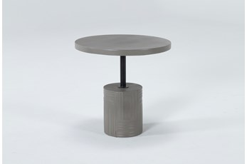 Concrete Round Etched Base Outdoor Accent Table