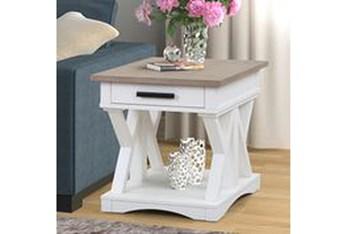 Americana Modern White End Table