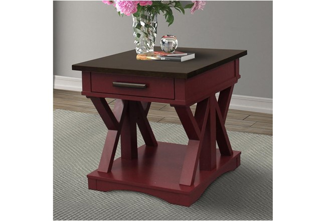 Americana Cranberry Modern End Table - 360