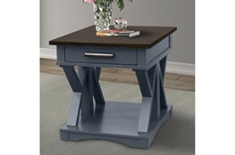 Americana Denim Modern End Table