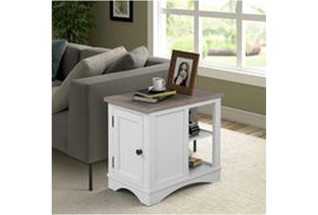 Americana Cotton Modern Chairside Table - 360