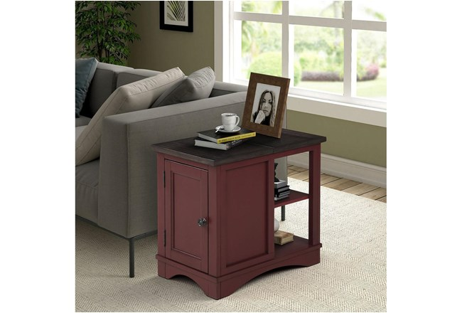 Americana Cranberry Modern Chairside Table - 360