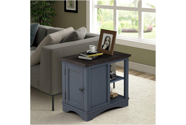 Americana Denim Modern Chairside Table - 360