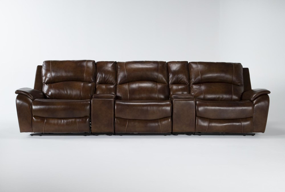 """Travis Cognac Leather 5 Piece Home Theater 142"""" Power Reclining Sofa With Power Headrest & Usb"""