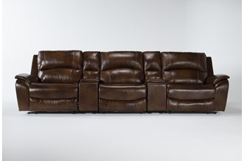 "Travis Cognac Leather 5 Piece Home Theater 142"" Power Reclining Sofa With Power Headrest & Usb"