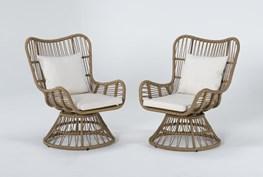 Boho Outdoor 2 Piece Swivel Chair Set