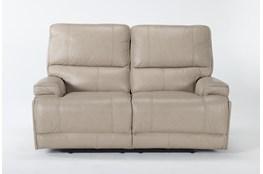 "Watkins Linen 66"" Power Reclining Loveseat With Power Headrest, Built-In Battery & USB"