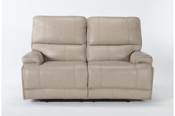 "Watkins Linen 66"" Power Reclining Loveseat With Power Headrest, Built-In Battery & USB"