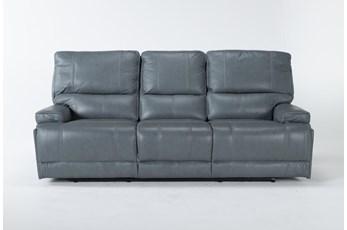 Watkins Blue Power Reclining Sofa With Power Headrest & Usb