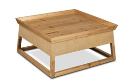 Square Raffia + Wood Coffee Table