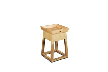Square  Raffia + Wood Accent Table