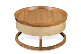 Round Raffia + Wood Coffee Table