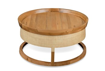 Round Raffia + Wood Coffee Table
