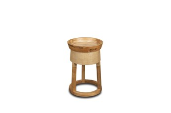 Round Raffia + Wood Accent Table