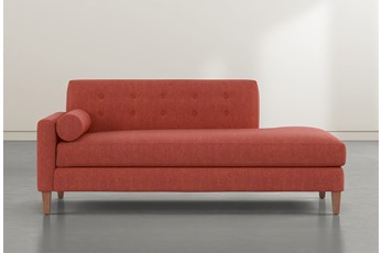 Serene Red Left Arm Facing Accent Chaise