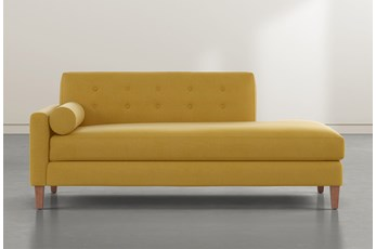 Serene Gold Left Arm Facing Accent Chaise