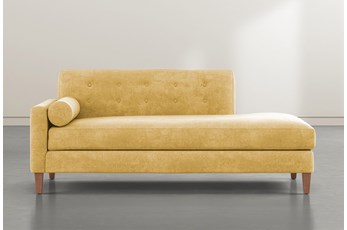 Serene Yellow Left Arm Facing Accent Chaise