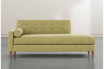 Serene Green Left Arm Facing Accent Chaise