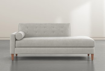 Serene Light Grey Left Arm Facing Accent Chaise