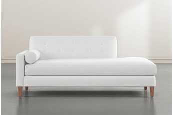 Serene White Left Arm Facing Accent Chaise