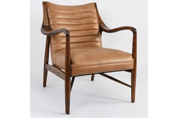 Caramel Leather Channeled Accent Chair