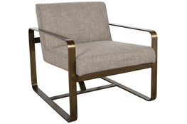 Taupe Accent + Brass Metal Accent Chair