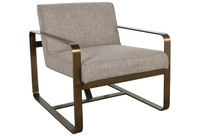 Taupe Accent + Brass Metal Accent Chair - 360