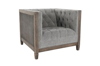 Cane + Upholstered Grey Tufted Accent Chair