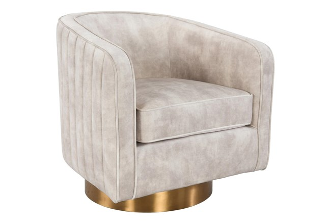 Ivory Curved Channel Swivel Accent Chair  - 360