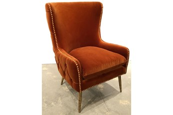 Burnt Red Tufted Wing Tip Accent Chair