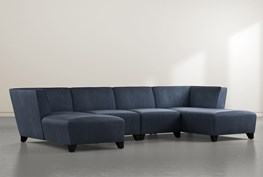 """Benton IV 4 Piece 130"""" Sectional With Double Chaise"""