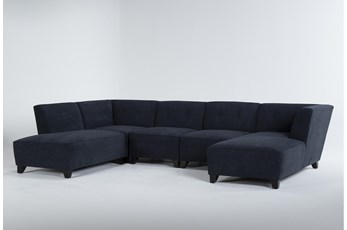 "Benton IV 5 Piece 130"" Sectional With Left Arm Facing Bumper"